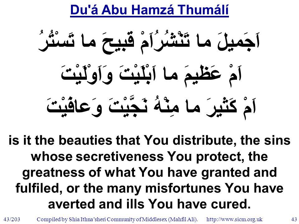 Du á Abu Hamzá Thumálí 43/203 43 Compiled by Shia Ithna'sheri Community of Middlesex (Mahfil Ali).
