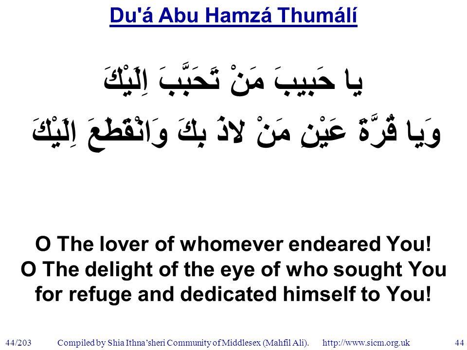 Du á Abu Hamzá Thumálí 44/203 44 Compiled by Shia Ithna'sheri Community of Middlesex (Mahfil Ali).
