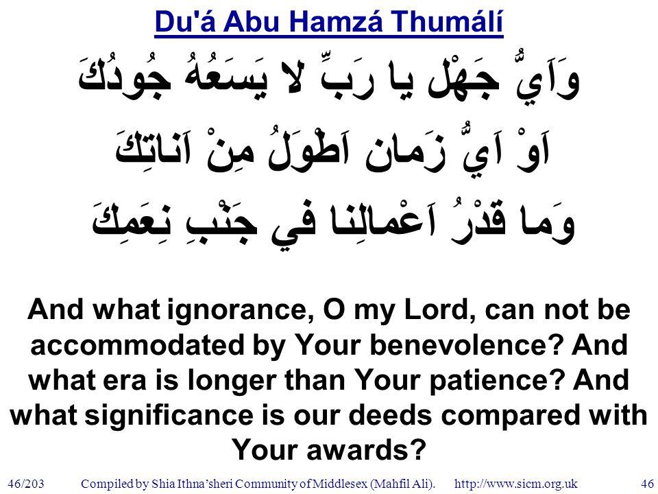 Du á Abu Hamzá Thumálí 46/203 46 Compiled by Shia Ithna'sheri Community of Middlesex (Mahfil Ali).