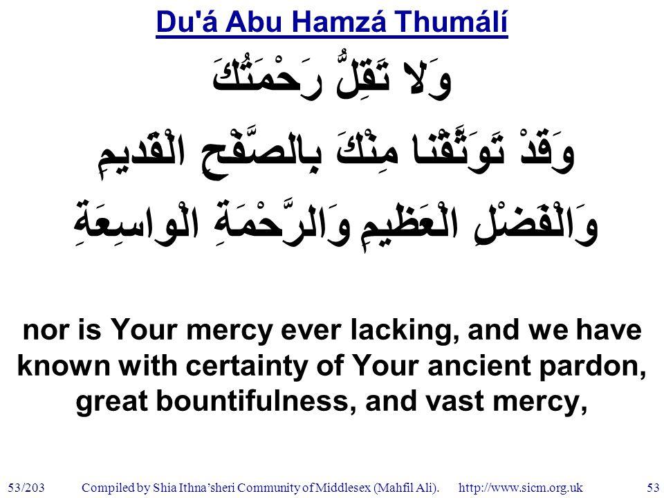 Du á Abu Hamzá Thumálí 53/203 53 Compiled by Shia Ithna'sheri Community of Middlesex (Mahfil Ali).