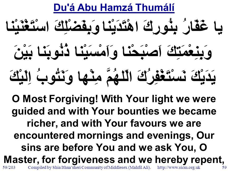 Du á Abu Hamzá Thumálí 59/203 59 Compiled by Shia Ithna'sheri Community of Middlesex (Mahfil Ali).