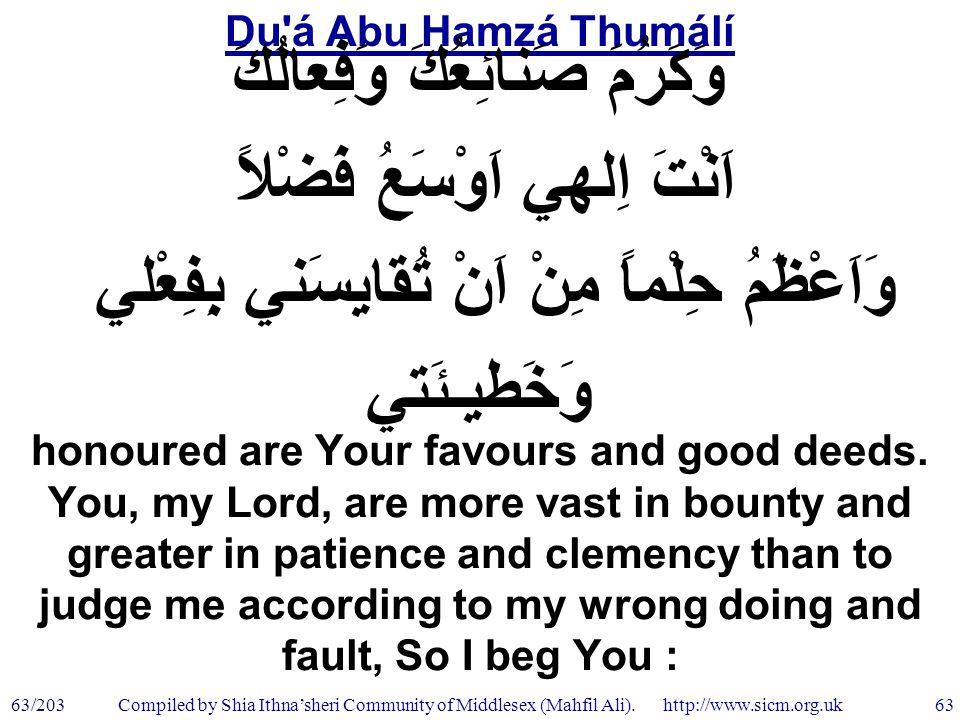 Du á Abu Hamzá Thumálí 63/203 63 Compiled by Shia Ithna'sheri Community of Middlesex (Mahfil Ali).