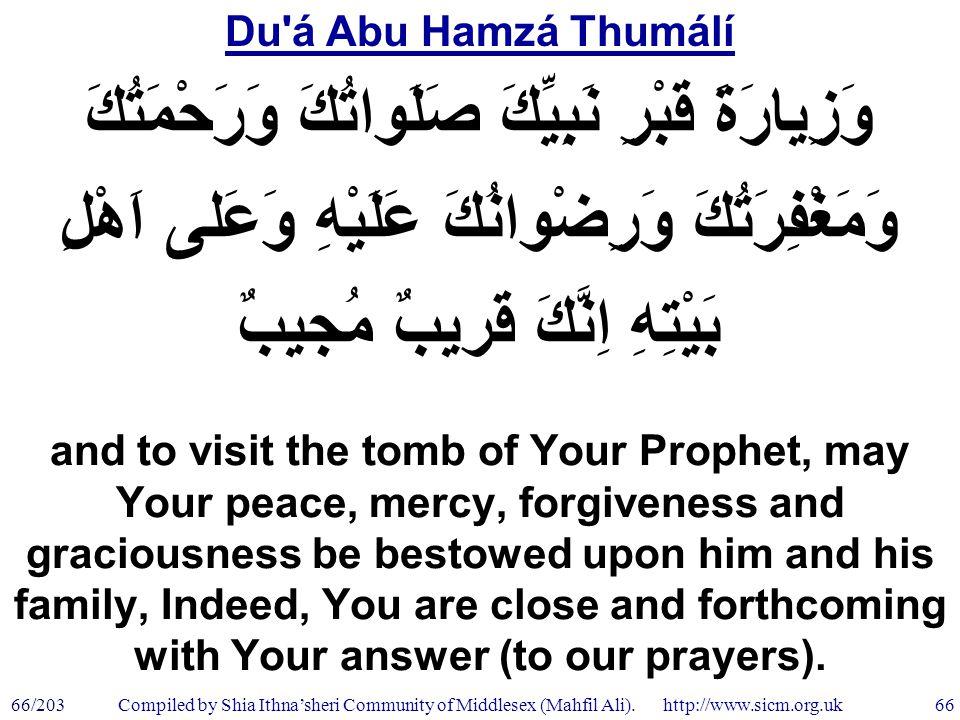 Du á Abu Hamzá Thumálí 66/203 66 Compiled by Shia Ithna'sheri Community of Middlesex (Mahfil Ali).