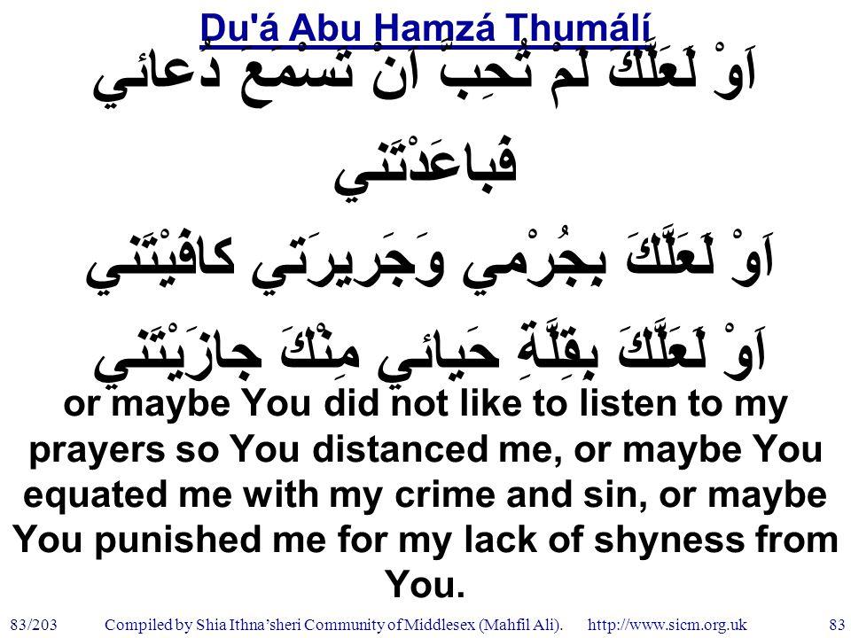 Du á Abu Hamzá Thumálí 83/203 83 Compiled by Shia Ithna'sheri Community of Middlesex (Mahfil Ali).