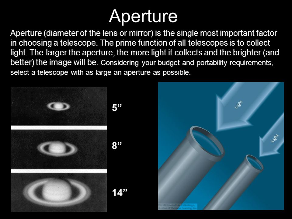 Aperture (diameter of the lens or mirror) is the single most important factor in choosing a telescope.