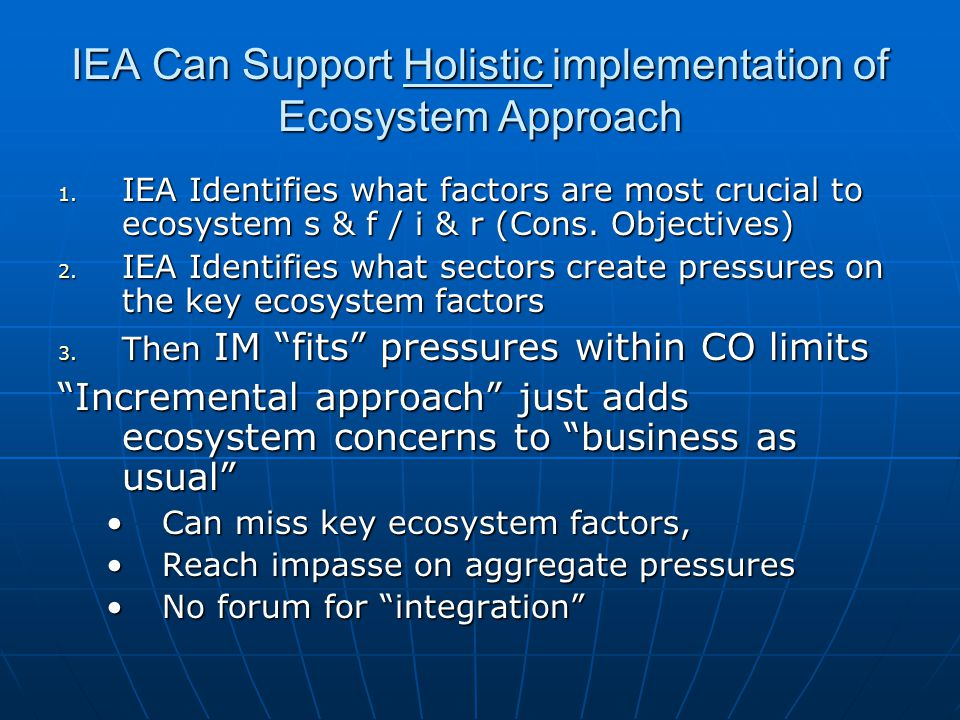 IEA Can Support Holistic implementation of Ecosystem Approach 1.