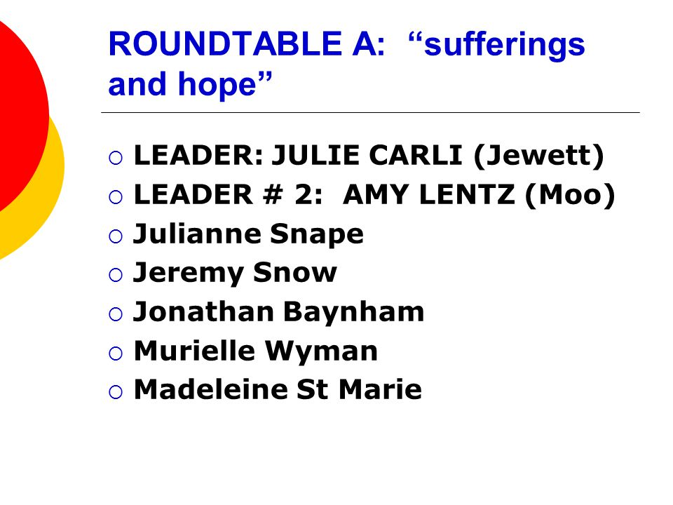 ROUNDTABLE A: sufferings and hope  LEADER: JULIE CARLI (Jewett)  LEADER # 2: AMY LENTZ (Moo)  Julianne Snape  Jeremy Snow  Jonathan Baynham  Murielle Wyman  Madeleine St Marie
