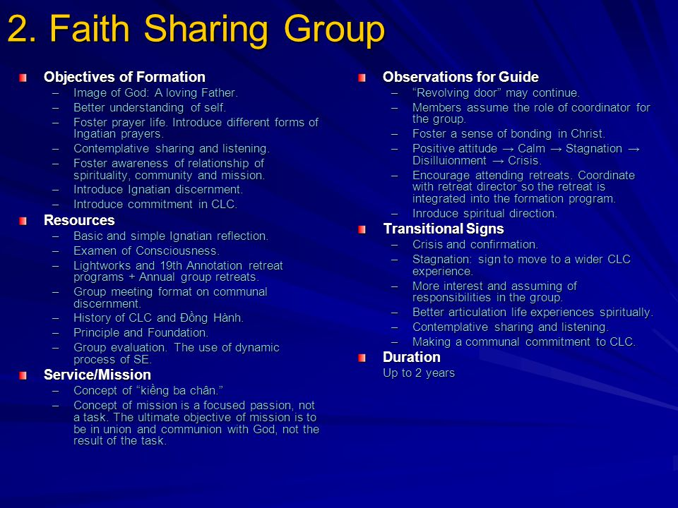 2. Faith Sharing Group Objectives of Formation –Image of God: A loving Father.