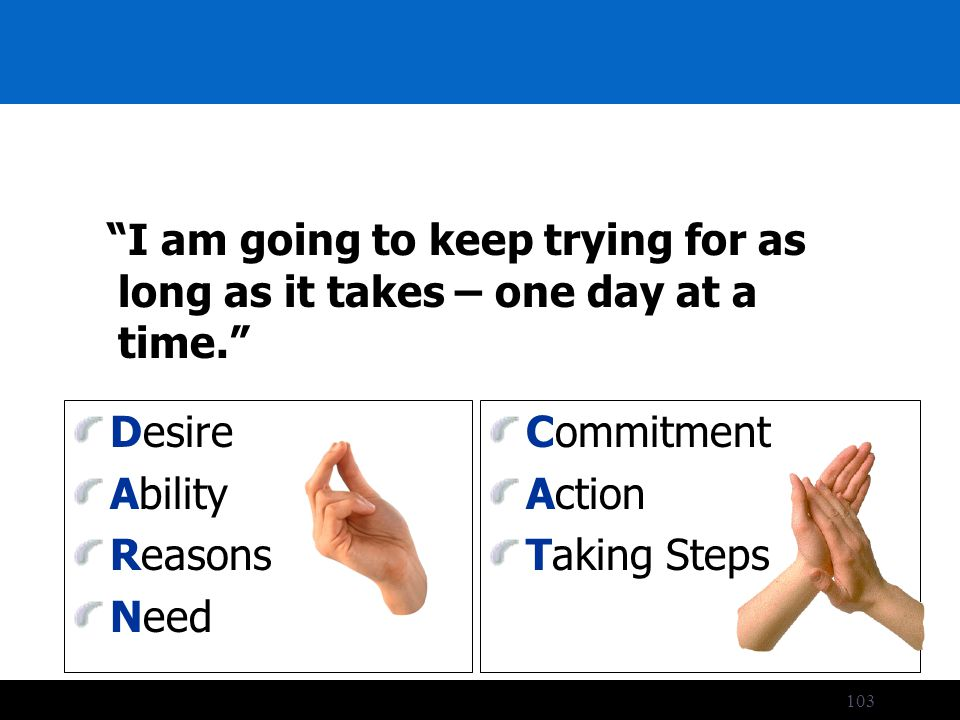 103 I am going to keep trying for as long as it takes – one day at a time. Desire Ability Reasons Need Commitment Action Taking Steps