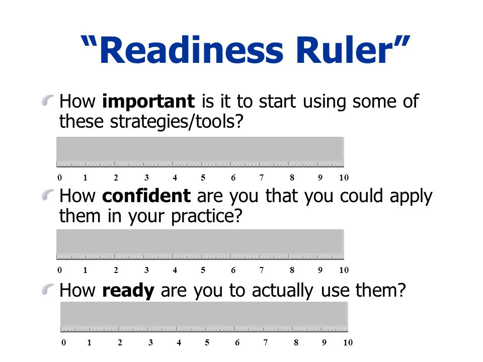 Readiness Ruler How important is it to start using some of these strategies/tools.