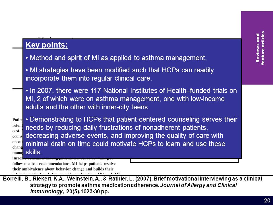 20 Key points: Method and spirit of MI as applied to asthma management.