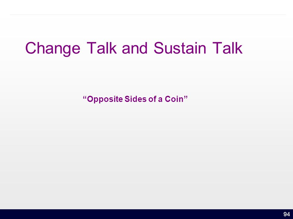 94 Change Talk and Sustain Talk Opposite Sides of a Coin