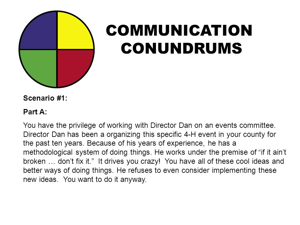 COMMUNICATION CONUNDRUMS Scenario #1: Part A: You have the privilege of working with Director Dan on an events committee. Director Dan has been a orga
