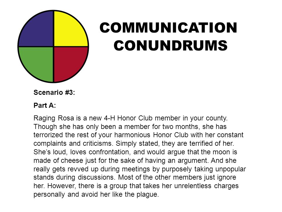 COMMUNICATION CONUNDRUMS Scenario #3: Part A: Raging Rosa is a new 4-H Honor Club member in your county. Though she has only been a member for two mon