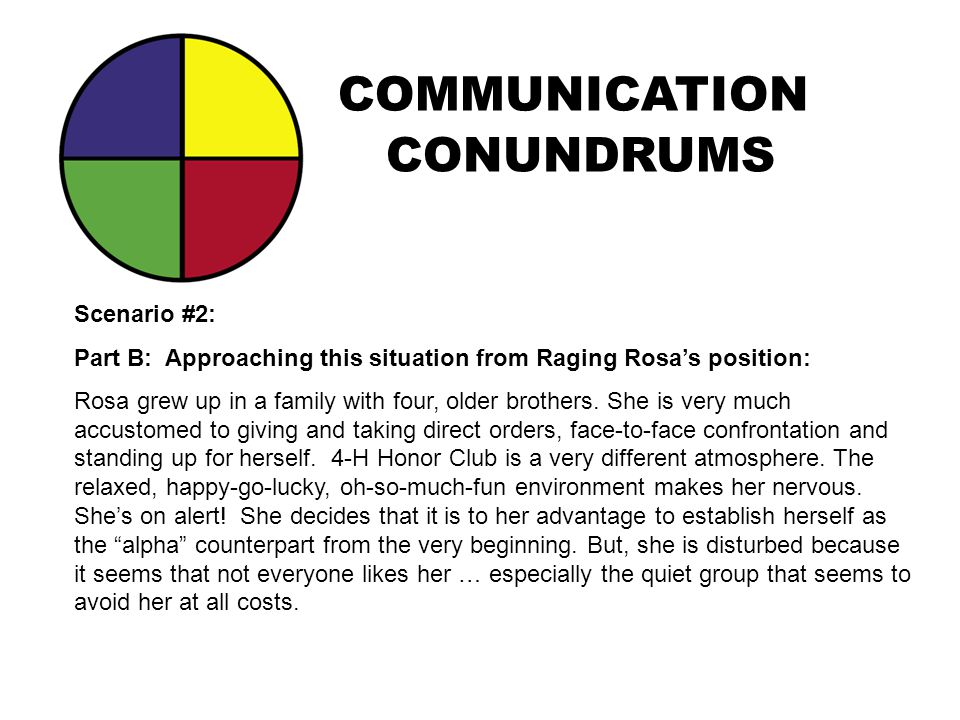 COMMUNICATION CONUNDRUMS Scenario #2: Part B: Approaching this situation from Raging Rosa's position: Rosa grew up in a family with four, older brothe