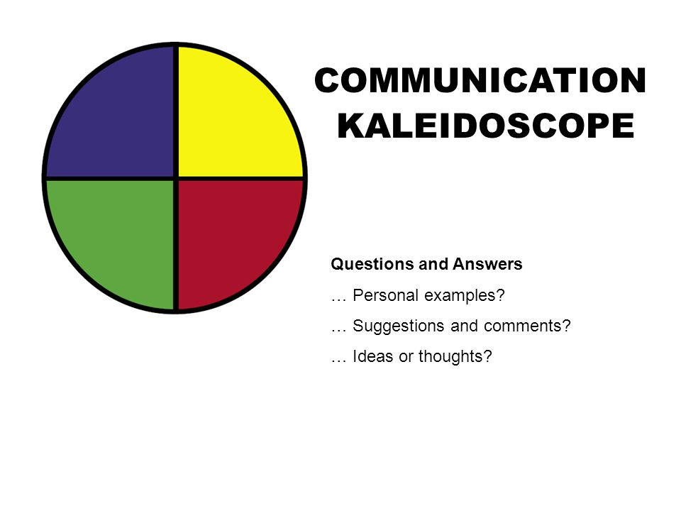 COMMUNICATION KALEIDOSCOPE Questions and Answers … Personal examples? … Suggestions and comments? … Ideas or thoughts?