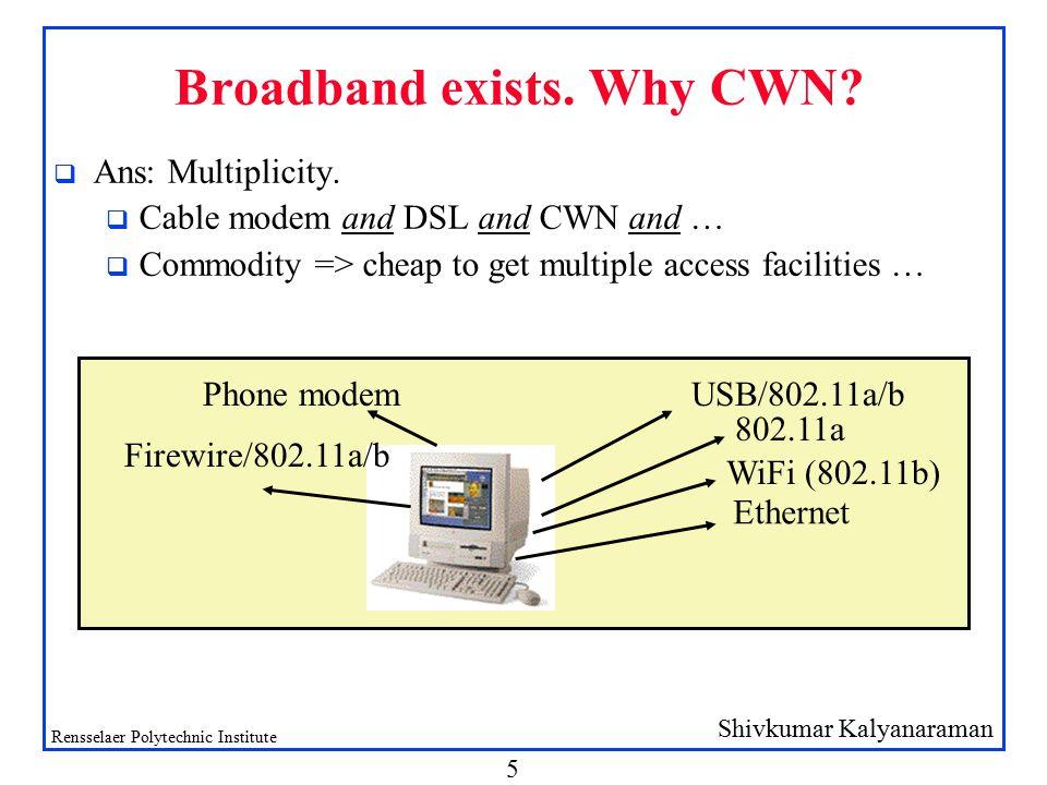Shivkumar Kalyanaraman Rensselaer Polytechnic Institute 5 Broadband exists.