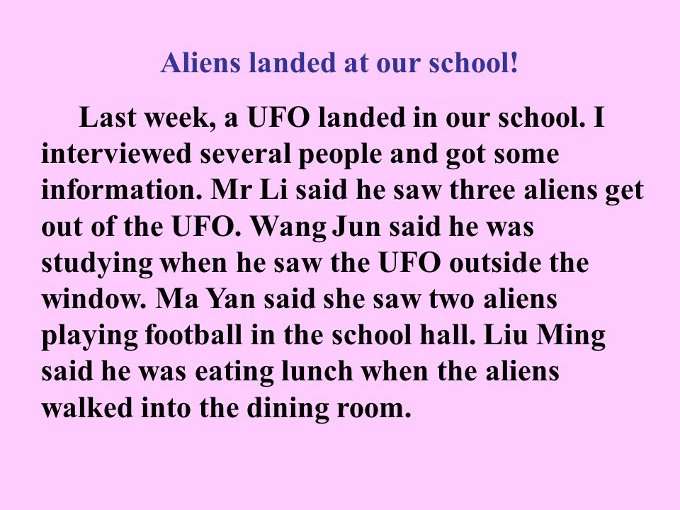 6WRITING You are a reporter for your school magazine. Last week, a UFO landed in your school. You interviewed several people and got the information i