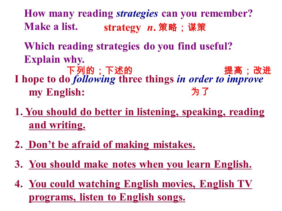 How many reading strategies can you remember? Make a list. Which reading strategies do you find useful? Explain why. I hope to do following three thin