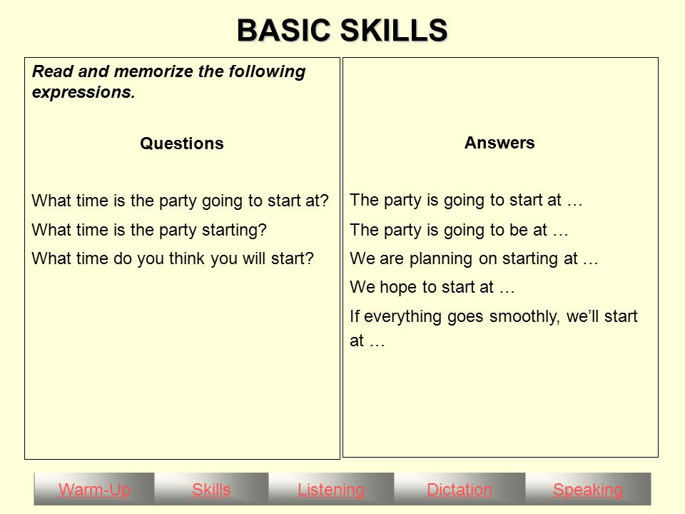 Warm-UpSkillsListeningDictationSpeaking BASIC SKILLS Read and memorize the following expressions.
