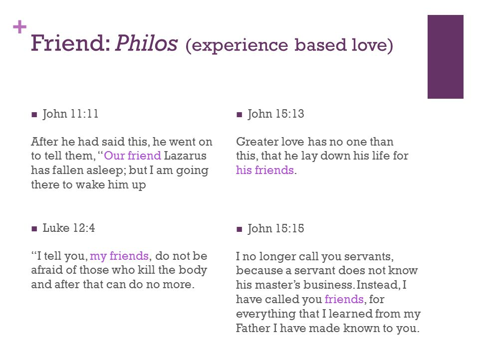 + Friend: Philos (experience based love) John 11:11 After he had said this, he went on to tell them, Our friend Lazarus has fallen asleep; but I am going there to wake him up Luke 12:4 I tell you, my friends, do not be afraid of those who kill the body and after that can do no more.