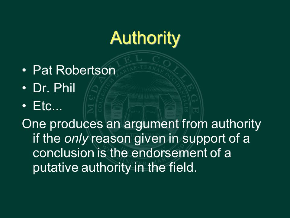 Authority Pat Robertson Dr. Phil Etc...