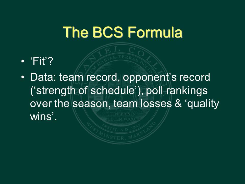 The BCS Formula 'Fit'.