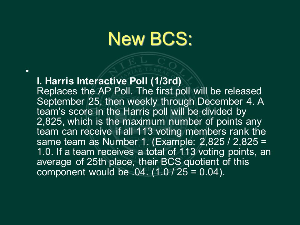 New BCS: I. Harris Interactive Poll (1/3rd) Replaces the AP Poll.