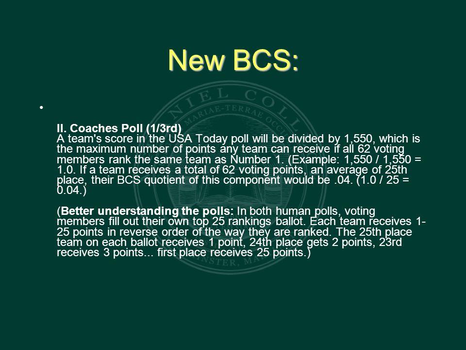 New BCS: II.