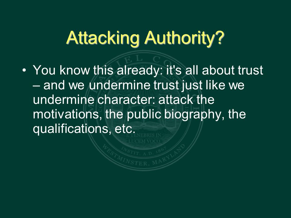 Attacking Authority.