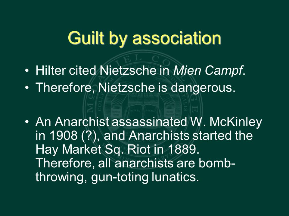 Guilt by association Hilter cited Nietzsche in Mien Campf.