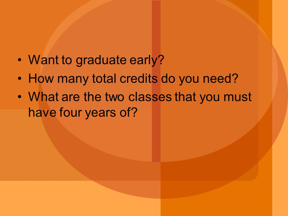 Want to graduate early. How many total credits do you need.