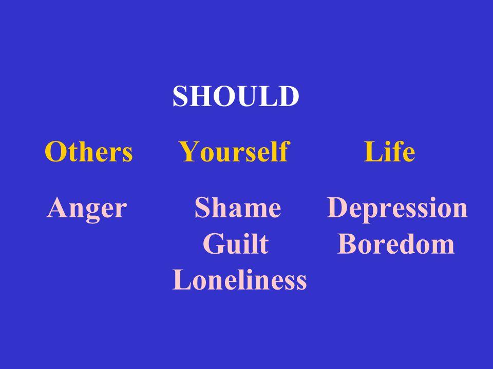 SHOULD Others Yourself Life Anger Shame Depression Guilt Boredom Loneliness