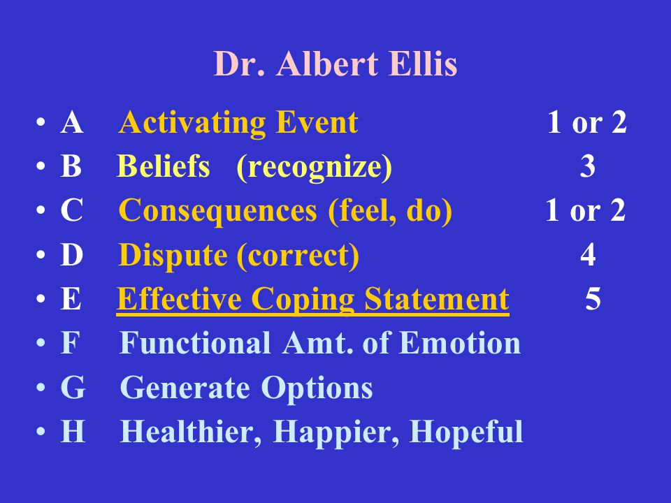 Dr. Albert Ellis A Activating Event 1 or 2 B Beliefs(recognize) 3 C Consequences (feel, do) 1 or 2 D Dispute (correct) 4 E Effective Coping Statement