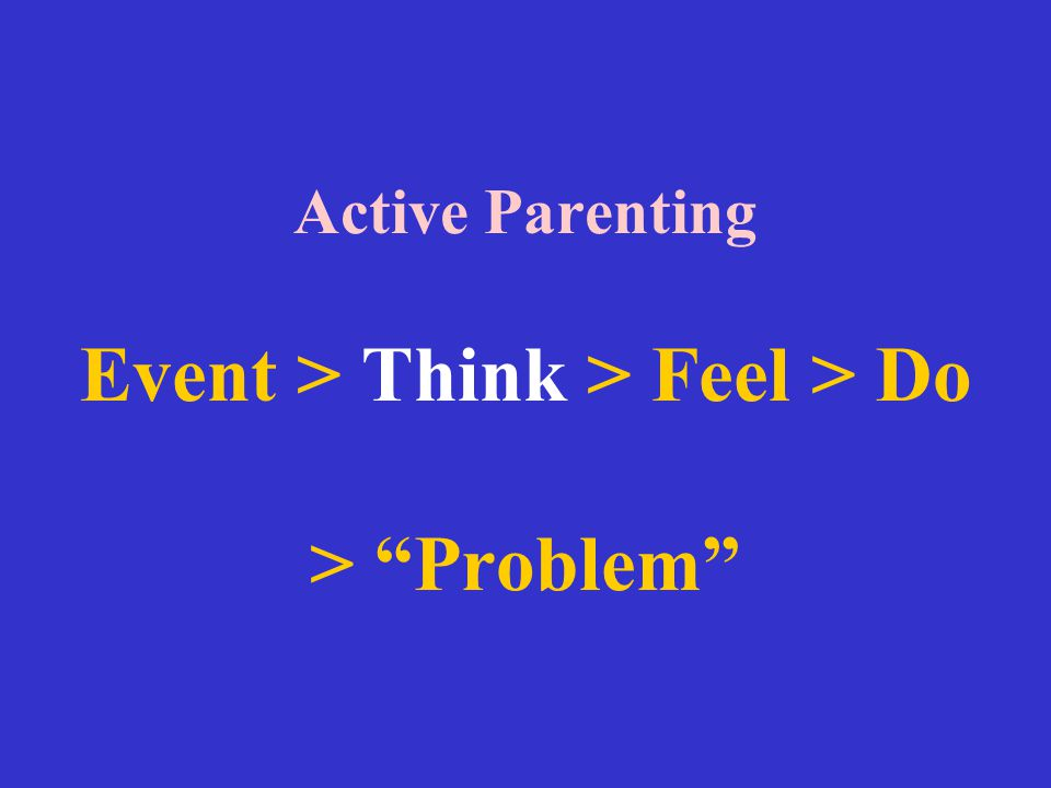 """Active Parenting Event > Think > Feel > Do > """"Problem"""""""