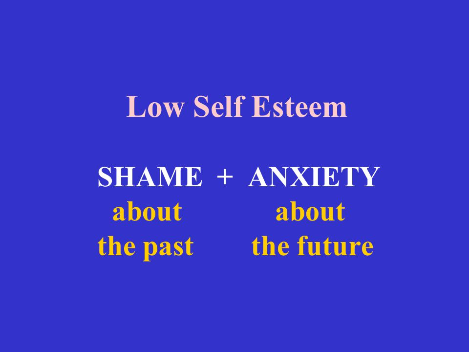 Low Self Esteem SHAME + ANXIETY about about the past the future