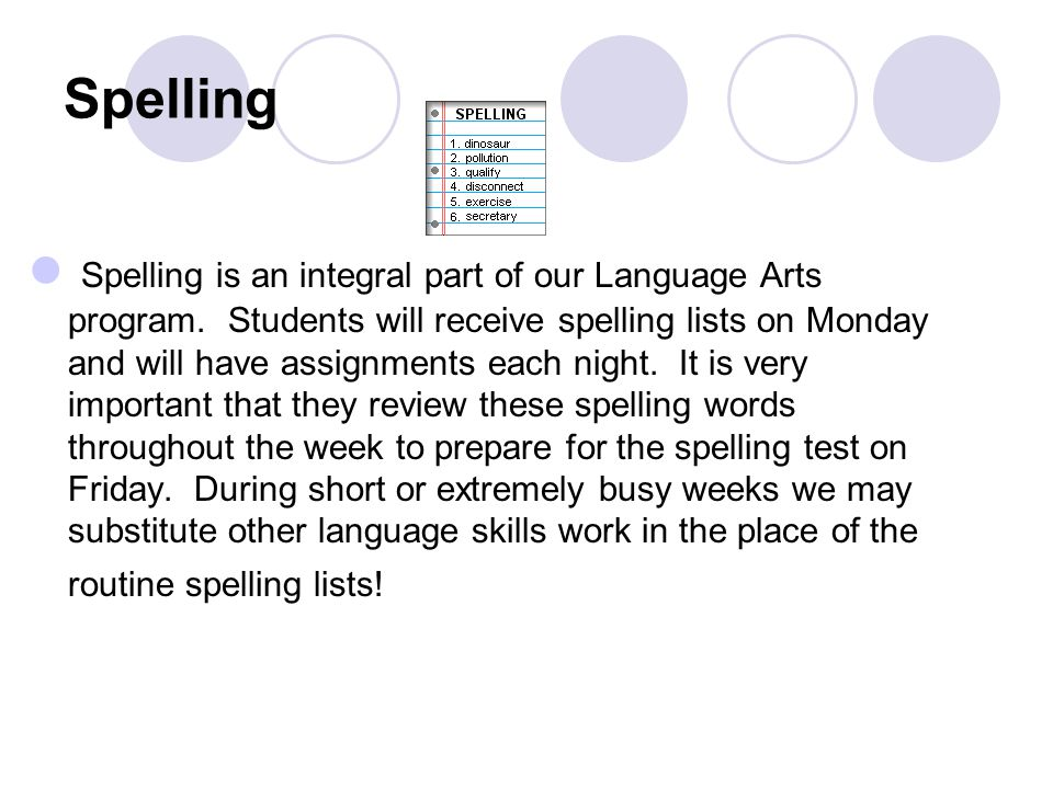 Spelling Spelling is an integral part of our Language Arts program.