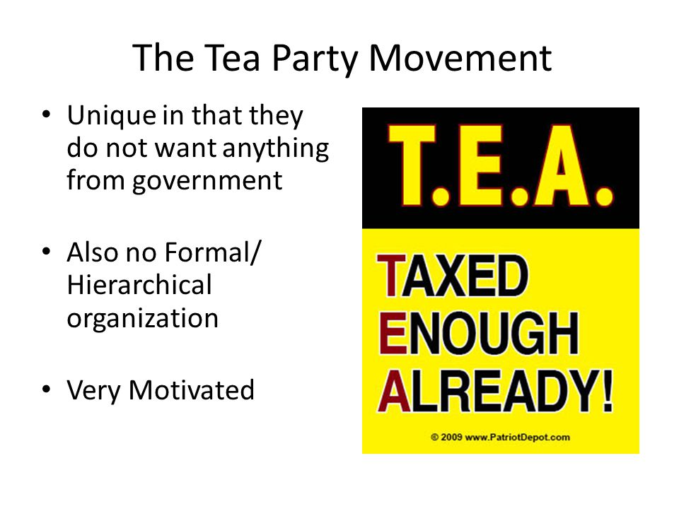 The Tea Party Movement Unique in that they do not want anything from government Also no Formal/ Hierarchical organization Very Motivated
