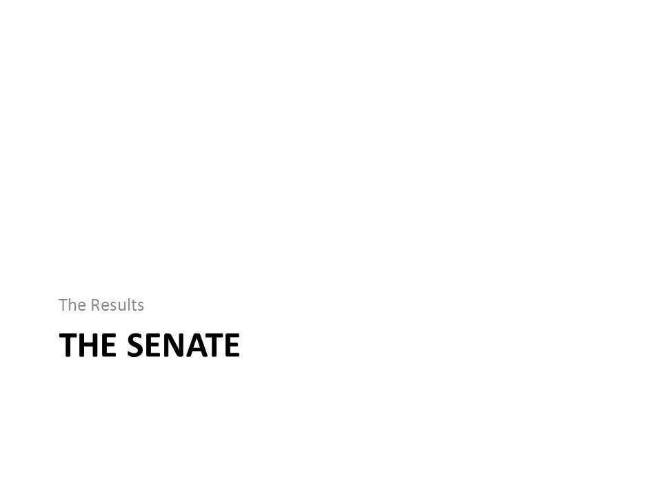 THE SENATE The Results