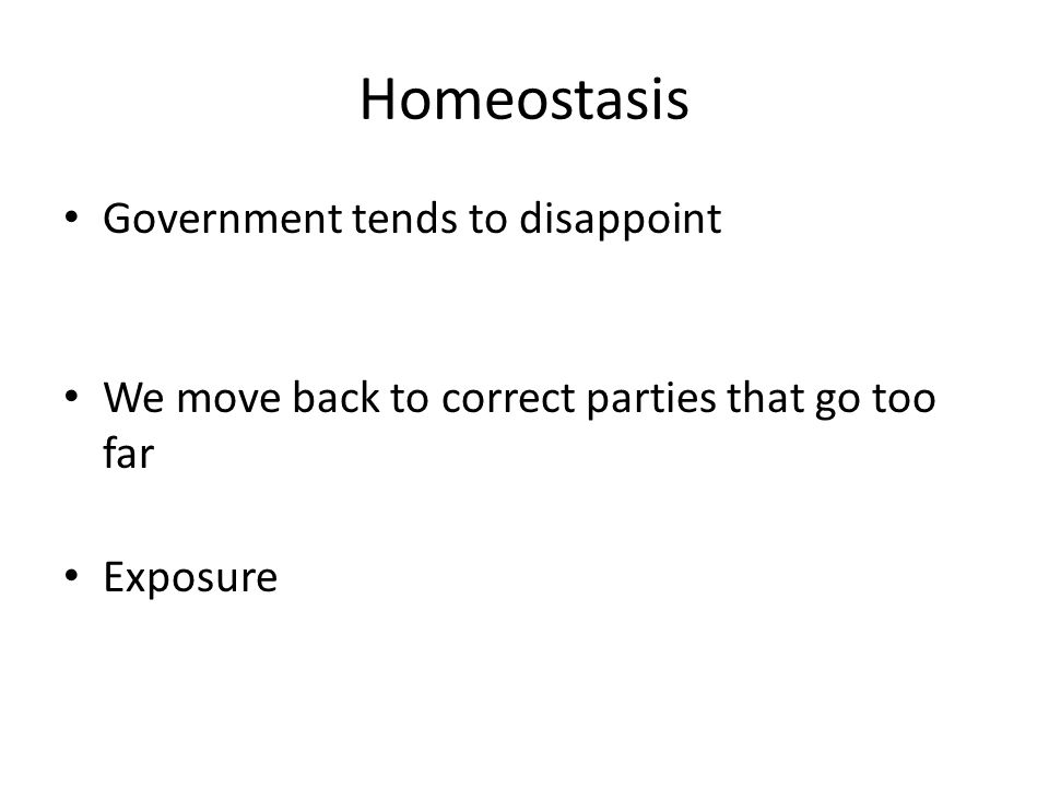 Homeostasis Government tends to disappoint We move back to correct parties that go too far Exposure