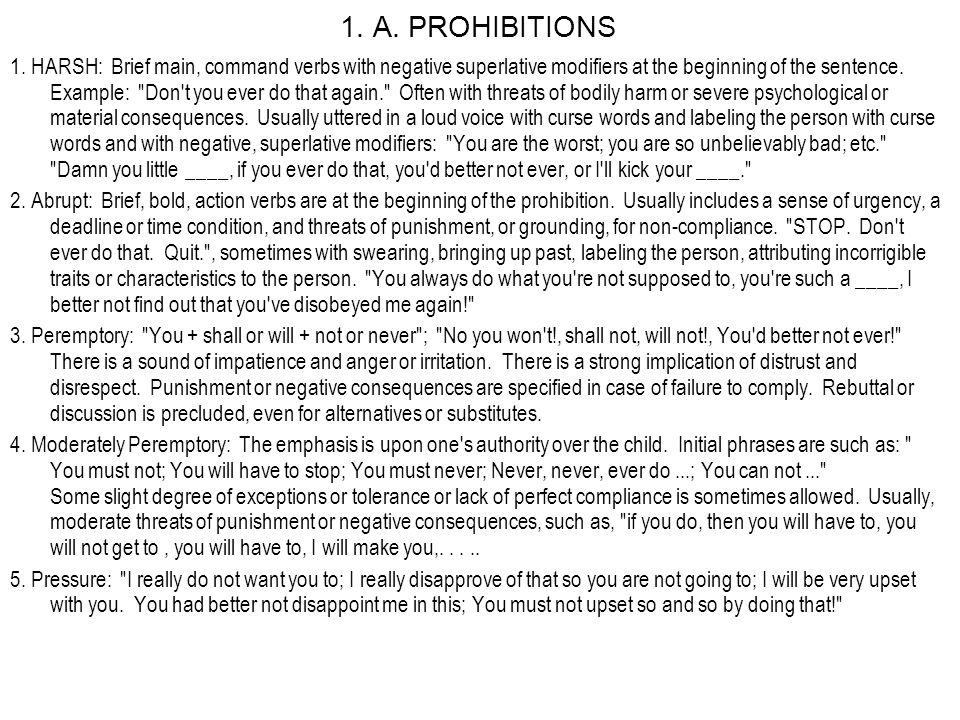1. A. PROHIBITIONS 1.