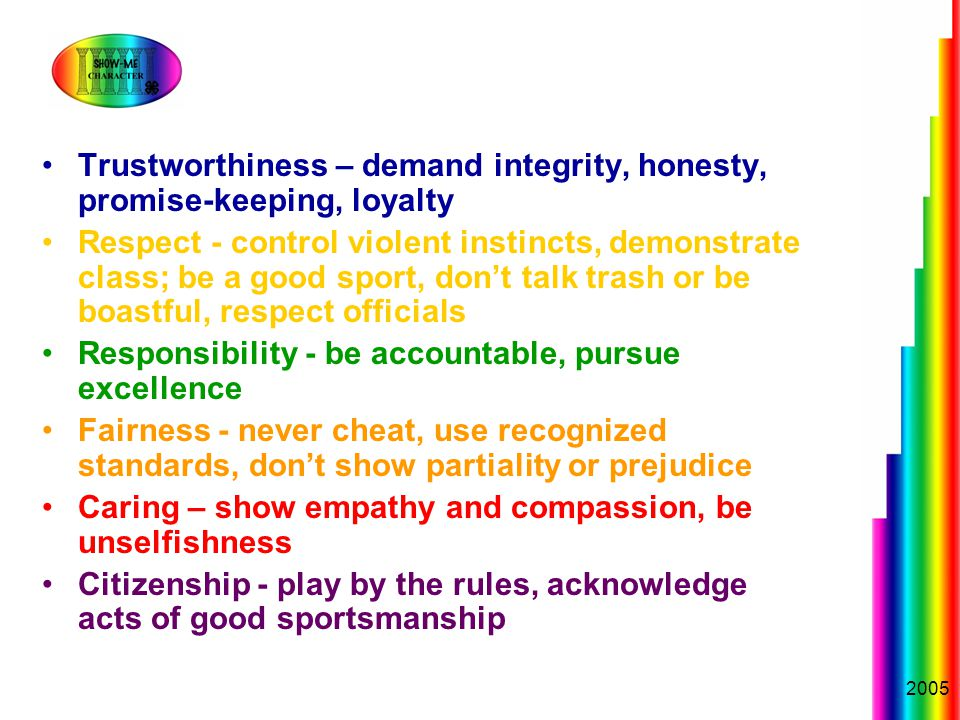 2005 Trustworthiness – demand integrity, honesty, promise-keeping, loyalty Respect - control violent instincts, demonstrate class; be a good sport, don't talk trash or be boastful, respect officials Responsibility - be accountable, pursue excellence Fairness - never cheat, use recognized standards, don't show partiality or prejudice Caring – show empathy and compassion, be unselfishness Citizenship - play by the rules, acknowledge acts of good sportsmanship