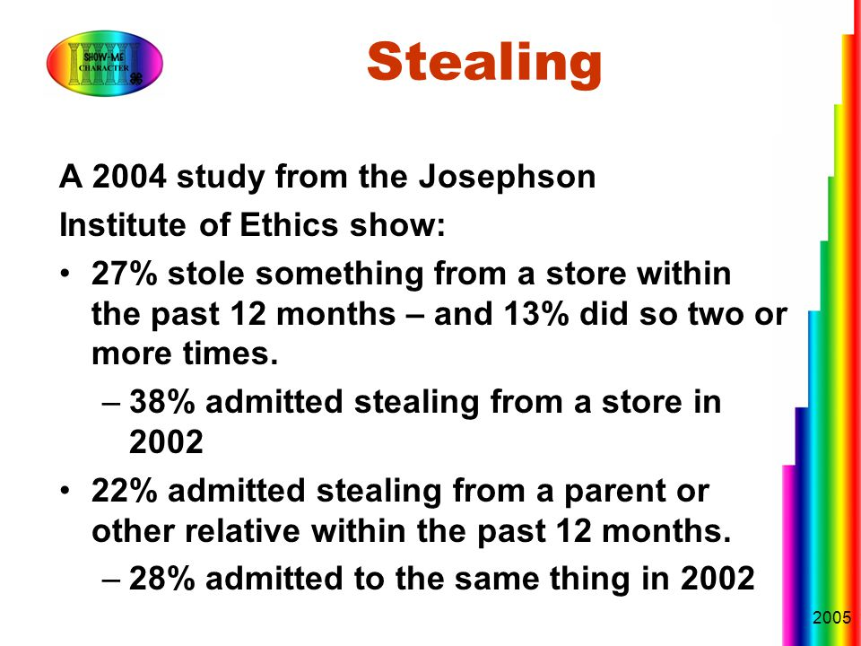 2005 Stealing A 2004 study from the Josephson Institute of Ethics show: 27% stole something from a store within the past 12 months – and 13% did so two or more times.