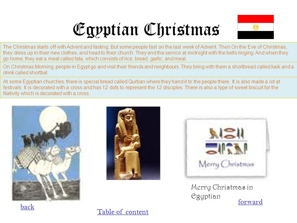 Egyptian Christmas back forward Table of content The Christmas starts off with Advent and fasting. But some people fast on the last week of Advent. Th