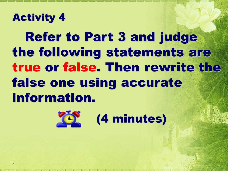 17 Refer to Part 3 and judge the following statements are true or false.
