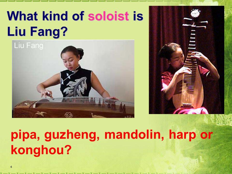 4 What kind of soloist is Liu Fang? pipa, guzheng, mandolin, harp or konghou?