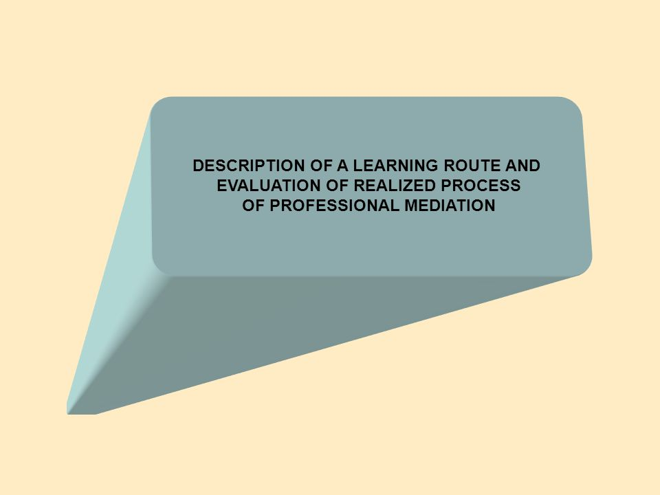 DESCRIPTION OF A LEARNING ROUTE AND EVALUATION OF REALIZED PROCESS OF PROFESSIONAL MEDIATION