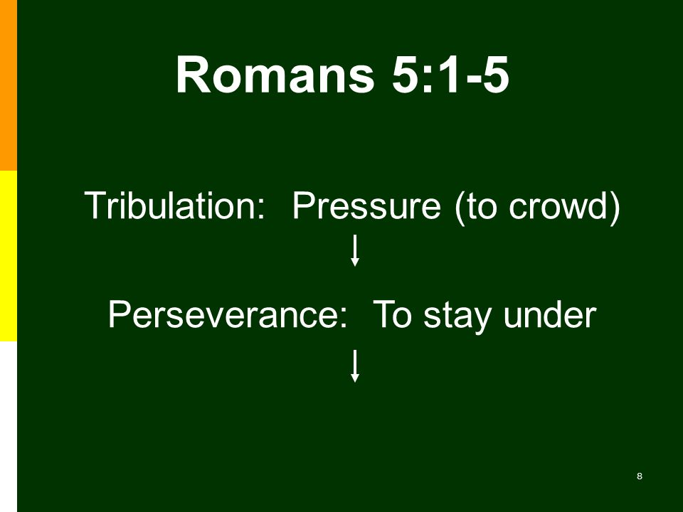 8 Perseverance: To stay under Romans 5:1-5