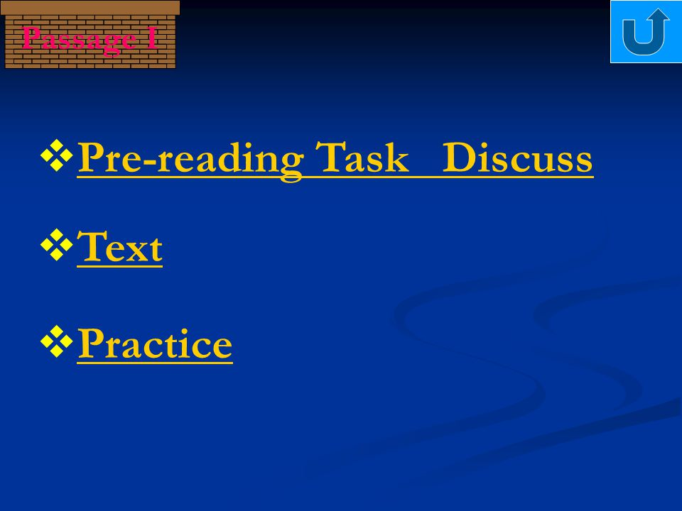 Passage I  Practice Practice  Text Text  Pre-reading Task Discuss Pre-reading Task Discuss