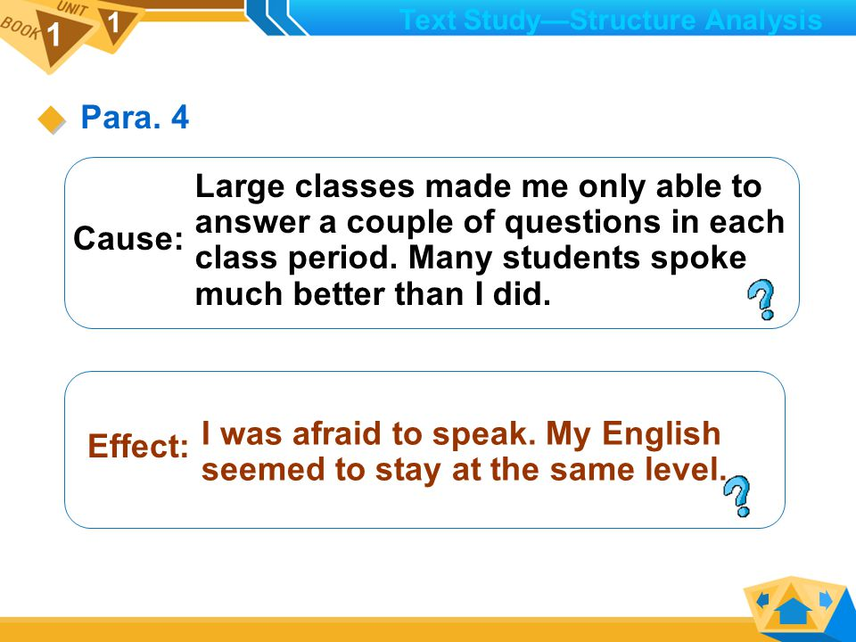 1 1 Cause: Effect: I lost my eagerness to answer questions and my desire to say anything in English.
